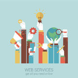 Online internet services flat style vector illustration concept. Online internet services flat style design vector illustration concept. Concepts hands holding Royalty Free Stock Photos