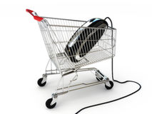 Online internet shopping. A mouse in a shopping cart concept on a white background, part of a series Royalty Free Stock Image