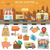 Internet Shopping Banner. Online internet shopping banner and infographics. Flat Style Icons shop, delivery, sale, storage and house. isolated vector Royalty Free Stock Photos