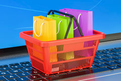 Online internet shopping concept on laptop keyboard, 3D renderin Royalty Free Stock Image