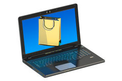 Online internet shopping  concept, laptop and shopping bag Stock Photography