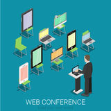Online internet web conference flat 3d isometric: laptop tablet Stock Images