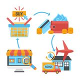 Online internet website shopping icons set Stock Images