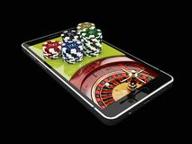 Online-internetkasinot app, roulett med chiper på telefonen, dobblerikasino spelar illustration 3d royaltyfri illustrationer