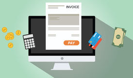 Online invoices payment. Pc dekstop calculator money credit card coin Royalty Free Stock Images