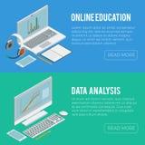 Online isometrisch de computerart. van onderwijscursussen Stock Afbeeldingen