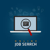 Online Job Search Illustration. Jobs search illustration, with magnifying glass search a briefcase on laptop Royalty Free Stock Image