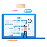 Online Job Search. Laptop with Newspaper on Screen vector illustration