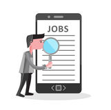 Online job Search on mobile phone illustration Royalty Free Stock Photography