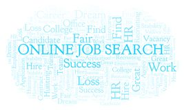 Online Job Search word cloud. Wordcloud made with text only stock illustration