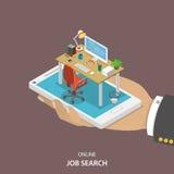 Online job searching isometric flat vector. Stock Image