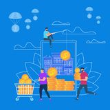 Online-jobb, internet som tjänar män med guld- mynt stock illustrationer