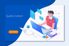 Online journalist, author, copywriter concept.landing page template.Flat isometric character, vector illustration. Isolated on white background stock illustration