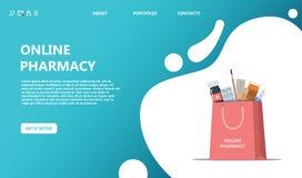 Online-köp och leverans av droger royaltyfri illustrationer