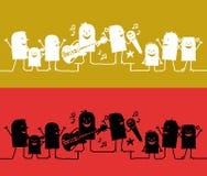 Online karakters - muziekfestival stock illustratie