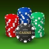 Online-kasinobanret med realistisk plast- 3d gå i flisor Royaltyfri Bild
