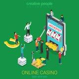 Online-kasinolägenhet 3d: jackpott för minnestavla för lyckadobbleritelefon Arkivfoto