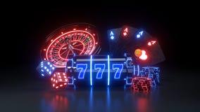 Online kasyno Uprawia hazard Futurystycznego pojęcie - 3D ilustracja ilustracji