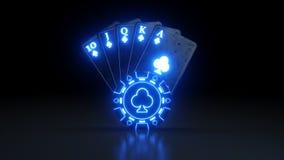 Online Kasynowy Królewski sekwens w klubu grzebaka kartach Z Neonowymi światłami Odizolowywającymi Na Czarnym tle - 3D ilustracja royalty ilustracja