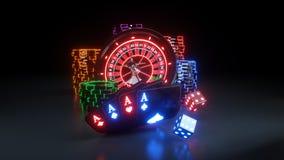 Online Kasynowy Uprawia hazard pojęcie - 3D ilustracja ilustracja wektor