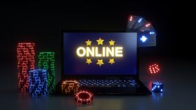 Online Kasynowy Uprawia hazard pojęcie Z Jarzyć się Neonowych światła, grzebak karty i grzebaków układy scalonych Odizolowywający ilustracji