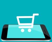 Online kaufen durch den Handy Stockbild