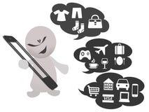 Online kaufen durch Smartphone Stock Abbildung