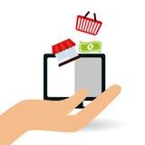 Online kaufen und Computerdesign, Vektorillustration Lizenzfreie Stockbilder
