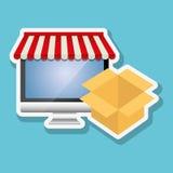 Online kaufen und Computerdesign, Vektorillustration, Vektorillustration Lizenzfreie Stockbilder