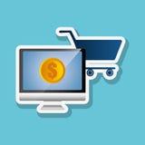 Online kaufen und Computerdesign, Vektorillustration, Vektorillustration Lizenzfreie Stockfotos