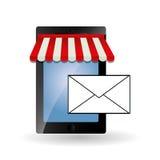 Online kaufen und Smartphonedesign, Vektorillustration Lizenzfreie Stockfotos