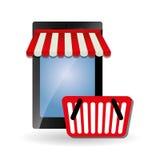 Online kaufen und Smartphonedesign, Vektorillustration Stockfotos
