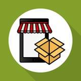 Online kaufen und Smartphonedesign, Vektorillustration, Vektorillustration Lizenzfreie Stockbilder