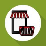Online kaufen und Smartphonedesign, Vektorillustration, Vektorillustration Stockbilder