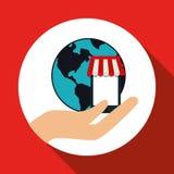 Online kaufen und Smartphonedesign, Vektorillustration, Vektorillustration Stockfotografie