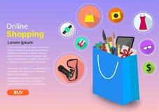 Online kaufend, bequem und einfach in Ihrer Hand stock abbildung