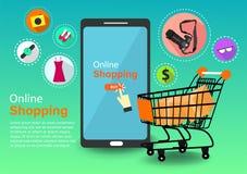 Online kaufend, bequem und einfach in Ihrer Hand vektor abbildung