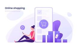 Online kaufend, bewegliches vermarktendes Konzept Auch im corel abgehobenen Betrag vektor abbildung