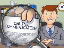 Online-kommunikation till och med förstoringsapparaten Klottra stil Royaltyfri Fotografi