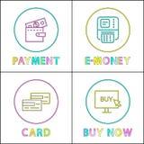 Online-komrets och shopping rundar linjära symboler royaltyfri illustrationer