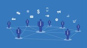 Online komunikaci i abstrakta sieci związku ogólnospołeczny pojęcie ilustracji