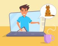 Online-konsultation av veterinären royaltyfri illustrationer