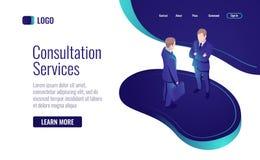 Online-konsultation, två män som talar, för att ha en dialog isometrisk symbol för teamworkprocess vektor illustrationer