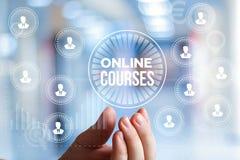 Online-kurs i affärsmanhand arkivfoto