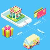 Online kwiatu sklep w isometric stylowym projekcie Zakup kwitnie na internecie używać mobilnego smartphone z szybką dostawą i ilustracji