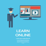 Online-lärande infographic mall för utbildning royaltyfri illustrationer