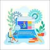 Online-lärande utbildning, internet jagar och att arbeta som privatlärare åt begrepp stock illustrationer