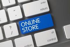 Online-lager - blå tangent 3d Arkivfoto