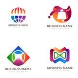 Online-lager och att shoppa logo- och symbolsdesign vektor illustrationer