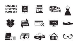 Online-lagersymbol Rengöringsduk som shoppar online-lönkort pengar och för markete-kommers för rabattkort återförsäljnings- svart vektor illustrationer